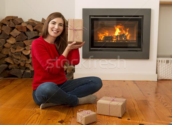 Zdjęcia stock: Gotowy · christmas · piękna · szczęśliwy · kobieta · domu