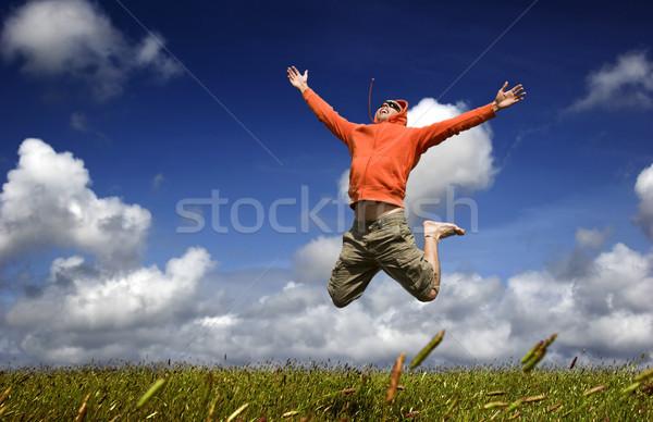 高跳び 男 ジャンプ 緑 草原 美しい ストックフォト © iko