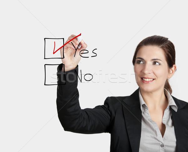 Güzel bir kadın yazı oy cam tahta Stok fotoğraf © iko