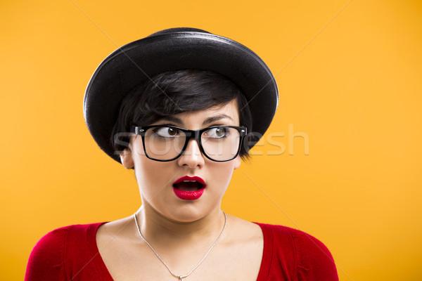 Astonished nerd girl Stock photo © iko