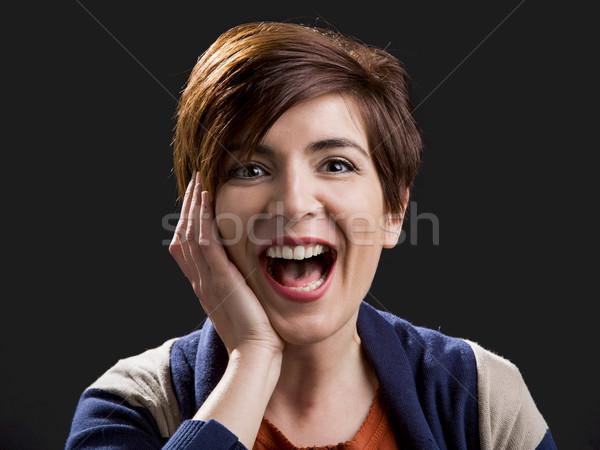 Woman laughing Stock photo © iko