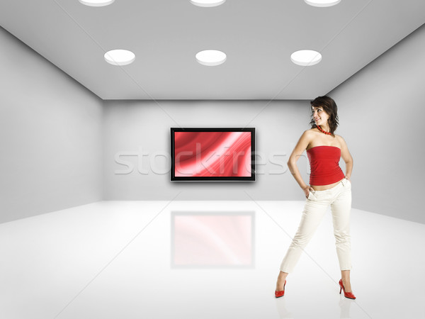 Teknoloji kadın güzel bir kadın büyük oda tv Stok fotoğraf © iko