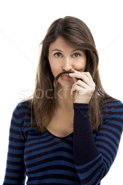 Woman with moustache Stock photo © iko