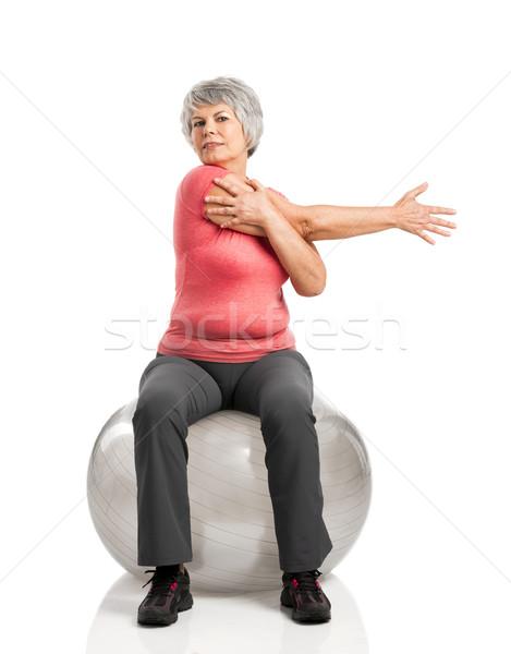 歳の女性 幸せ フィットネス ピラティス ボール ストックフォト © iko