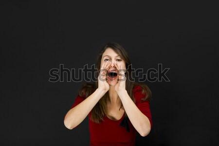 Kobiet student wzywając ktoś piękna młodych Zdjęcia stock © iko