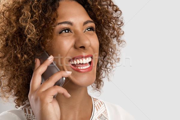 女性 話し 電話 美しい アフリカ系アメリカ人 少女 ストックフォト © iko