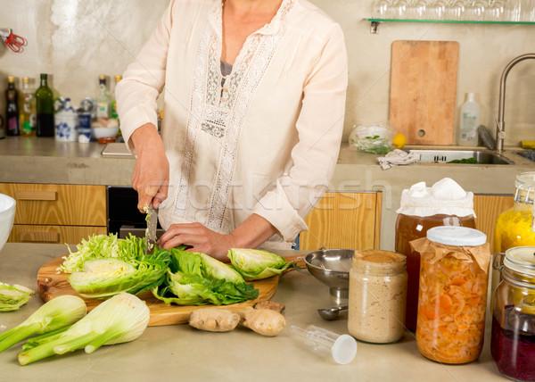 Сток-фото: кислая · капуста · консервированный · овощей · капуста · кислый · стекла