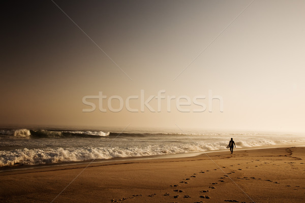 Surfer mooie strand golven vroeg sport Stockfoto © iko
