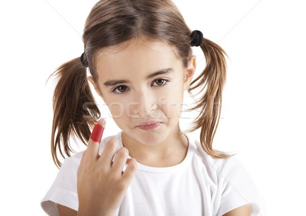 Dito bambina isolato bianco faccia Foto d'archivio © iko