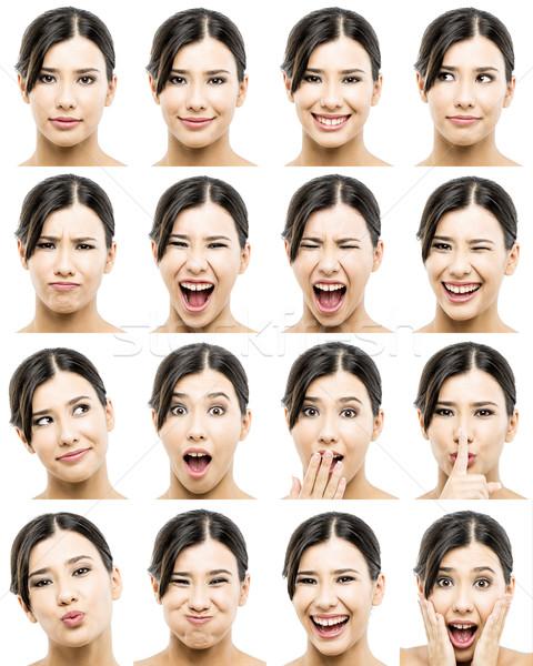 Különböző kifejezések többszörös portrék gyönyörű ázsiai Stock fotó © iko