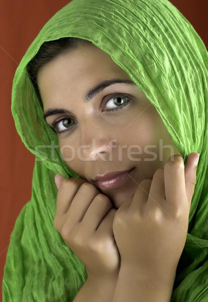 Bela mulher retrato vermelho verde mulher mulheres Foto stock © iko