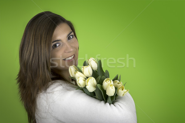 Woman with Tulips Stock photo © iko