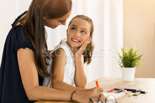 Little child drawing Stock photo © iko