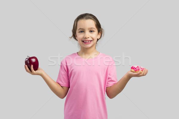Fánk alma kislány mosolyog választ gyerekek Stock fotó © iko