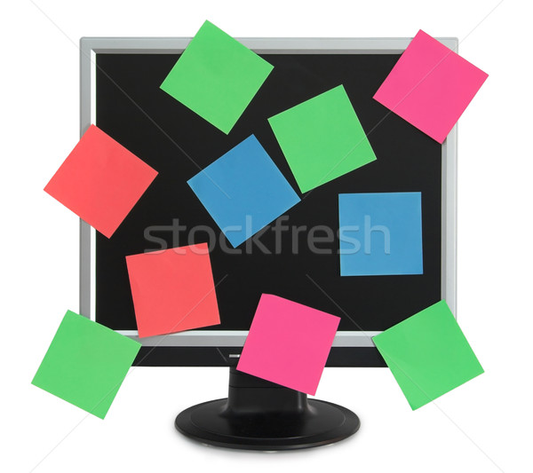 Postit in the monitor Stock photo © iko