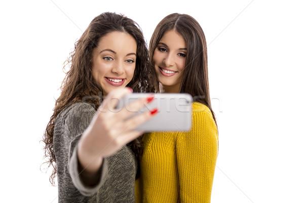 Girls taking selfie Stock photo © iko