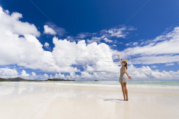 Stok fotoğraf: Plaj · güzel · bir · kadın · güzellik · manzara · deniz