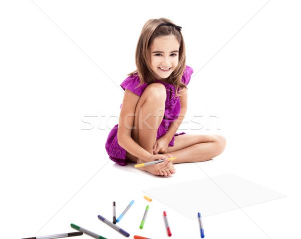 Stock foto: Mädchen · Zeichnungen · Sitzung · Stock · Papier