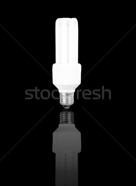 Fluoreszkáló villanykörte fekete tükröződés fény technológia Stock fotó © iko