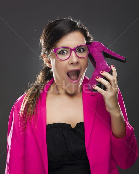 Engraçado mulher sapato celular Foto stock © iko