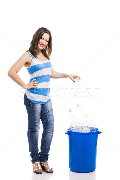 Stock photo: Woman recycling