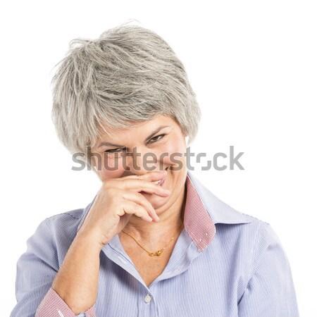 Nő viccelődés portré idős nő nevet arc Stock fotó © iko