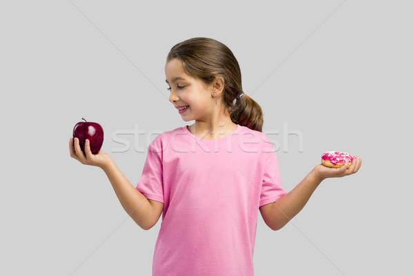 Tatlı çörek elma küçük kız gülen çocuklar Stok fotoğraf © iko