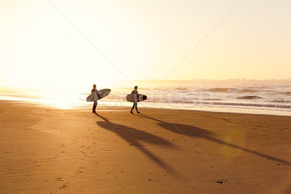 Surfers on the beach Stock photo © iko