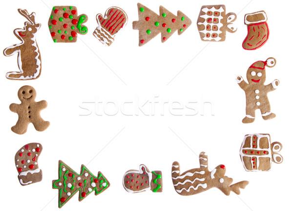 Pan di zenzero cookies fatto in casa diverso forme isolato Foto d'archivio © iko