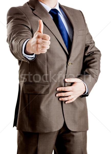 Udany człowiek biznesu strony pracy ciało Zdjęcia stock © iko