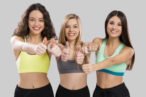 счастливым фитнес девочек портрет три красивой Сток-фото © iko