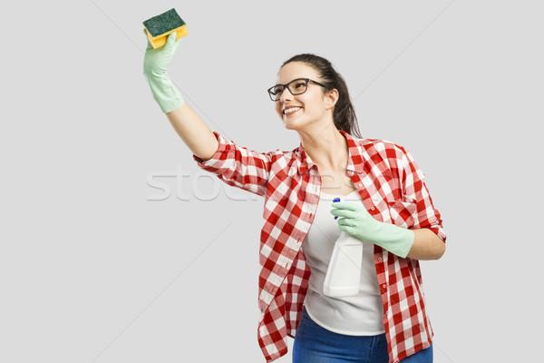 ハウスキーピング きれいな女性 着用 手袋 洗浄 スプレー ストックフォト © iko