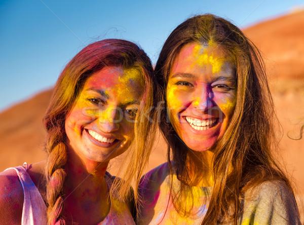 En İyi arkadaşlar tok renkli toz tüm Stok fotoğraf © iko