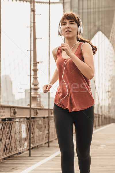Stock photo: Running on Brooklyn bridge