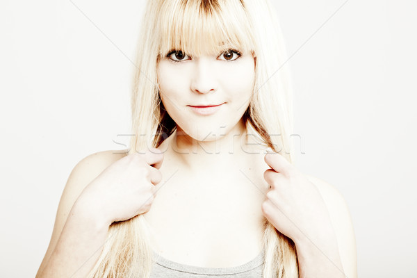 Güzel sarışın kadın portre genç kadın gülümseme Stok fotoğraf © iko