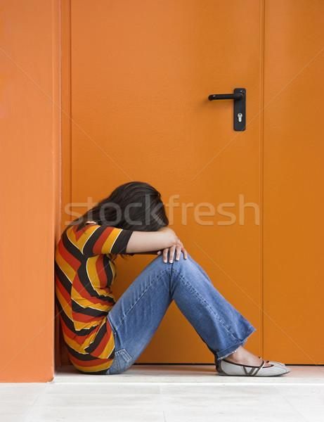 Solidão mulher laranja porta mãos negócio Foto stock © iko