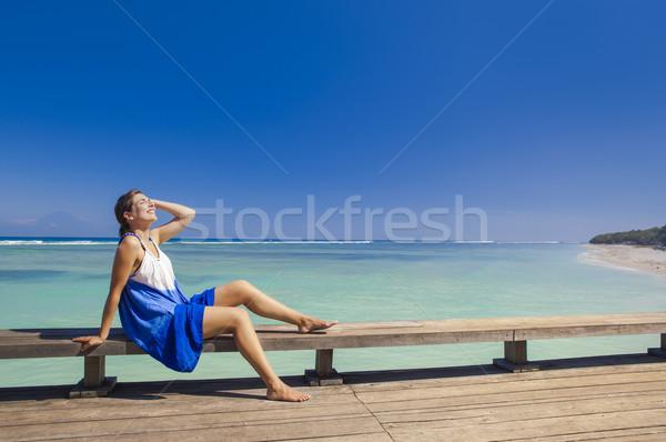 Verão bela mulher relaxante belo praia tropical Foto stock © iko