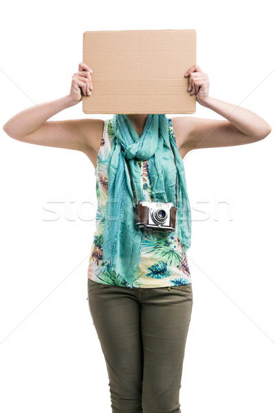 Stock photo: Woman with a cardboard