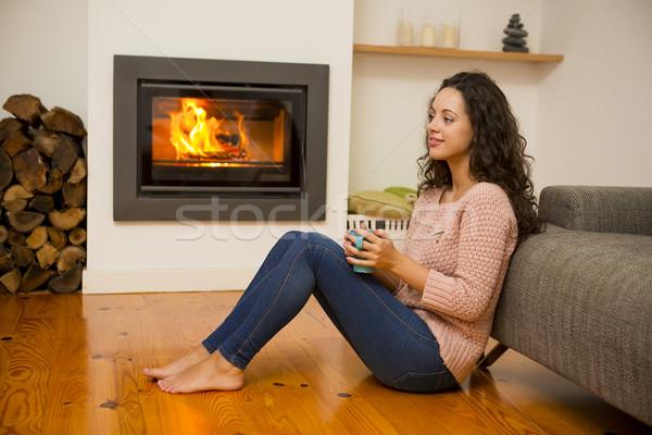 Stok fotoğraf: Kış · gün · güzel · bir · kadın · içme · sıcak