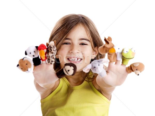 играет пальца Cute счастливая девушка стороны ребенка Сток-фото © iko