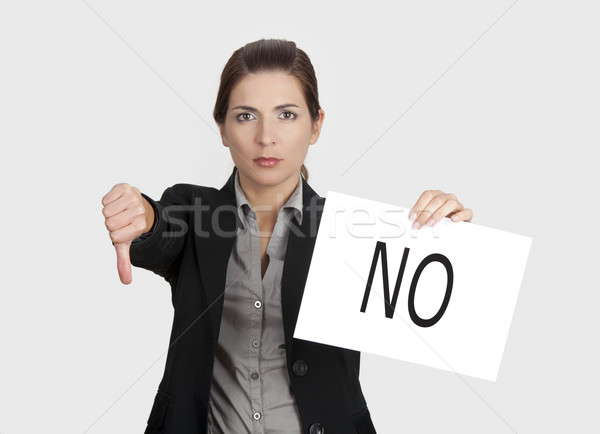 Negatieve keuze business jonge vrouw tonen Stockfoto © iko