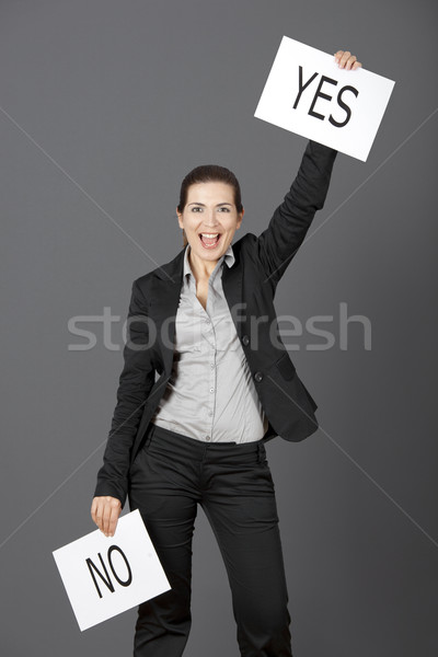 Evet seçim iş genç kadın gri Stok fotoğraf © iko