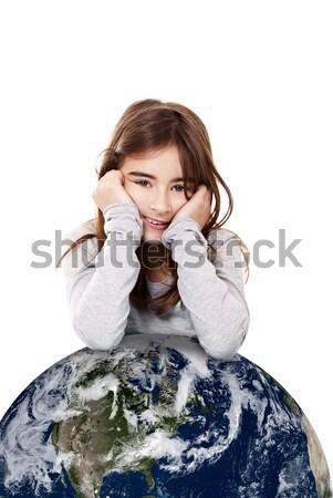 Meisje aarde portret meisje klein geïsoleerd Stockfoto © iko