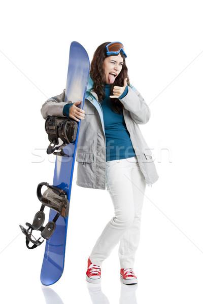 сноуборд женщину девушки изолированный белый спорт Сток-фото © iko