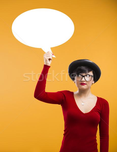 Сток-фото: девушки · мысли · красивая · девушка · голову