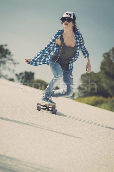 фигурист девушки вниз дороги скейтборде Сток-фото © iko