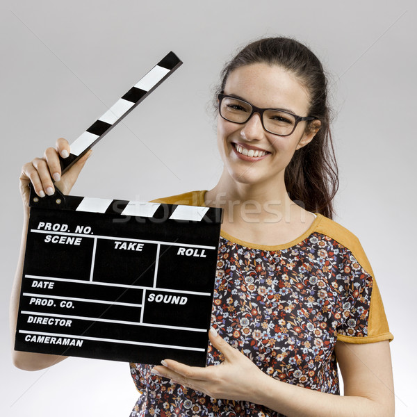 Woman with a clapboard Stock photo © iko