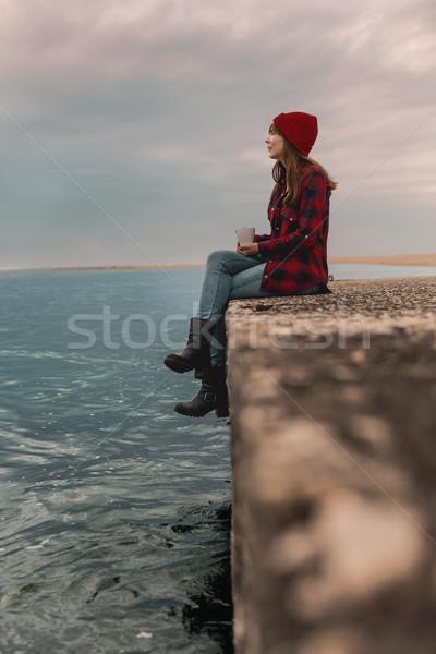 Liebe Einsamkeit schöne Frau genießen Tag Stock foto © iko