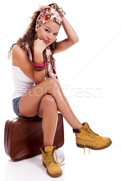 Divat nő gyönyörű fiatal  bőrönd Stock fotó © iko