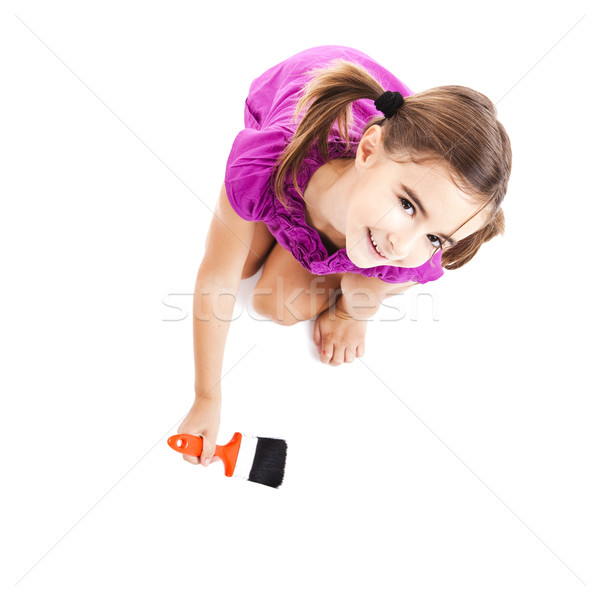 Child with a paint-brush Stock photo © iko